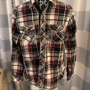 Boys Buckle BLACK Plaid Button Up Shirt Sz. 14-16